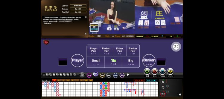 Tampilan table BBIN live Casino