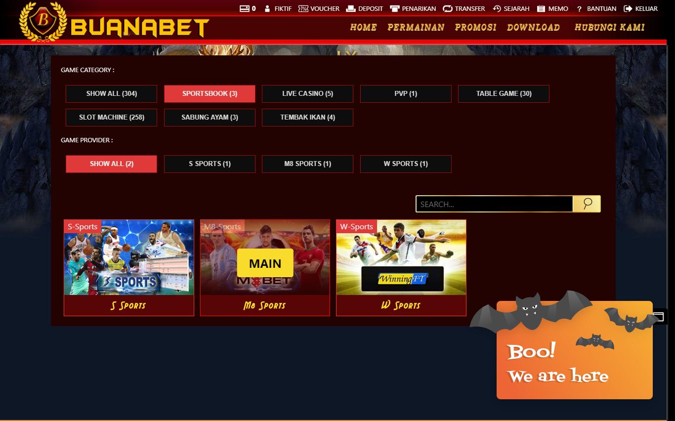 Pilihan menu provider sportsbook