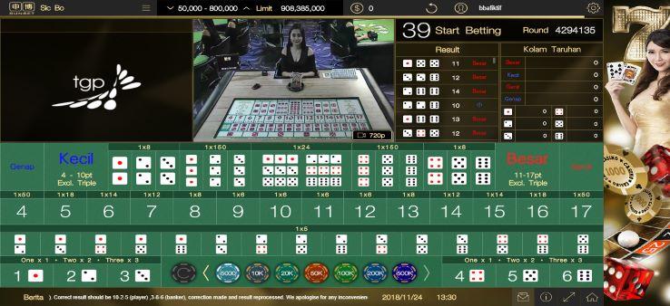 Meja Arena Permainan Sic Bo di SunBet Live Casino White Label