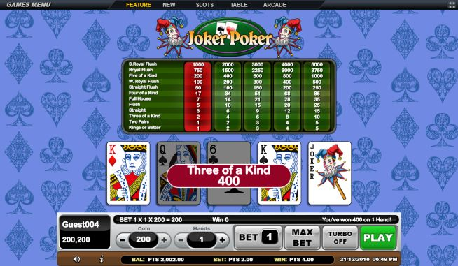 Three of a Kind Joker Poker Online Gaming White Label
